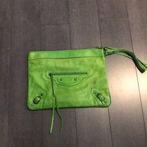 Bright green Balenciaga clutch